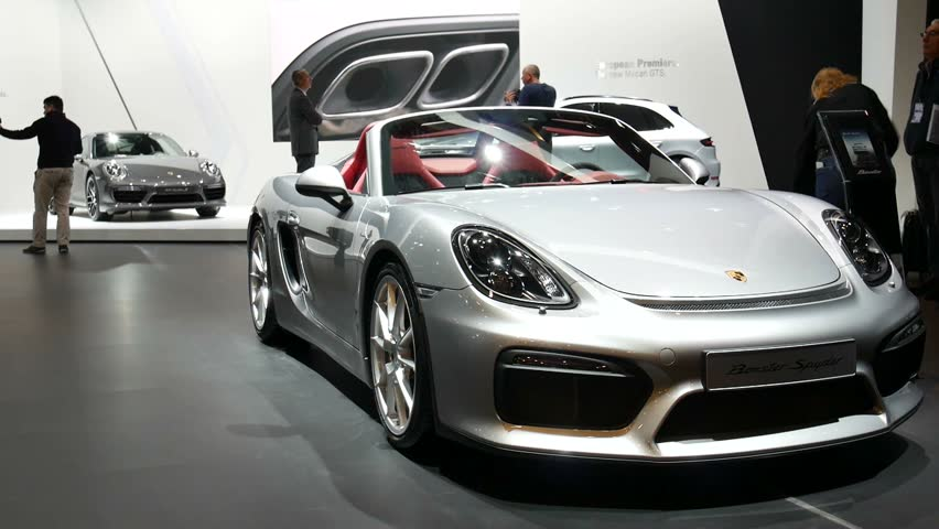 BRUSSELS, BELGIUM   JANUARY 12, 2016: Silver Porsche Boxster Spyder Open Sports  Car Awesome Ideas