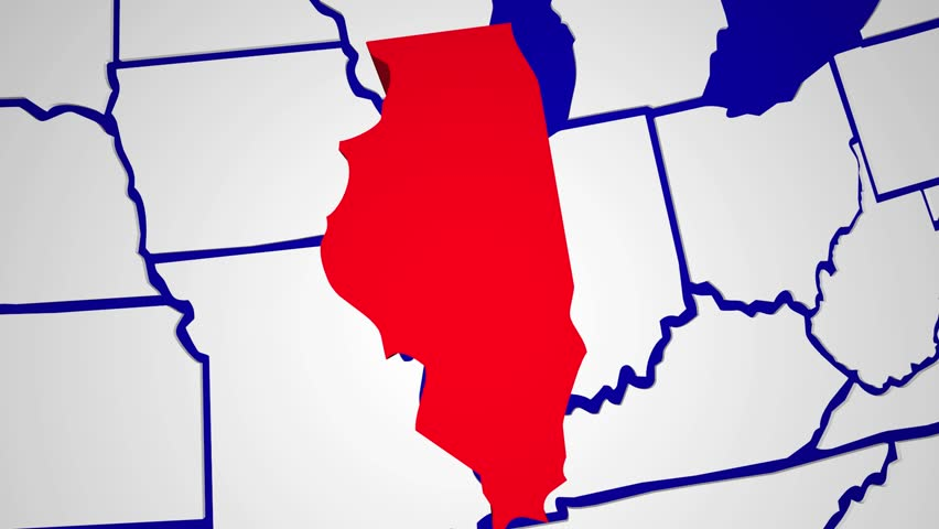 Illinois IL Animated State Map USA Zoom Close Up Stock Footage