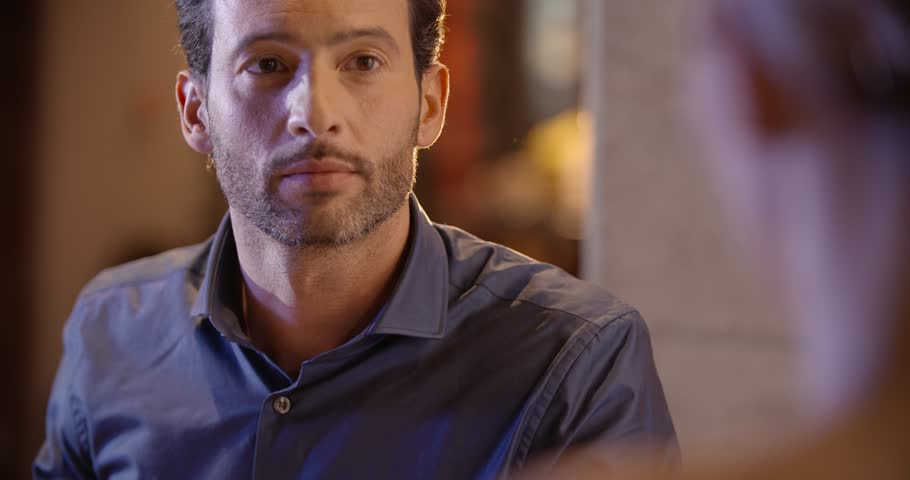 Elegant man have dinner with his girfriend at the restaurant in the evening in slow motion (in real-time at 60 fps) #14218775