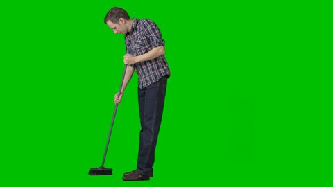 Man sweeps the floor with mop. Footage with alpha channel File format - mov. Codec - PNG+Alpha. High quality keying without holes and chatter