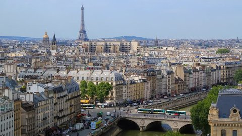 PARIS - MAY 2015: City panorama with the Seine river and Eiffel tower