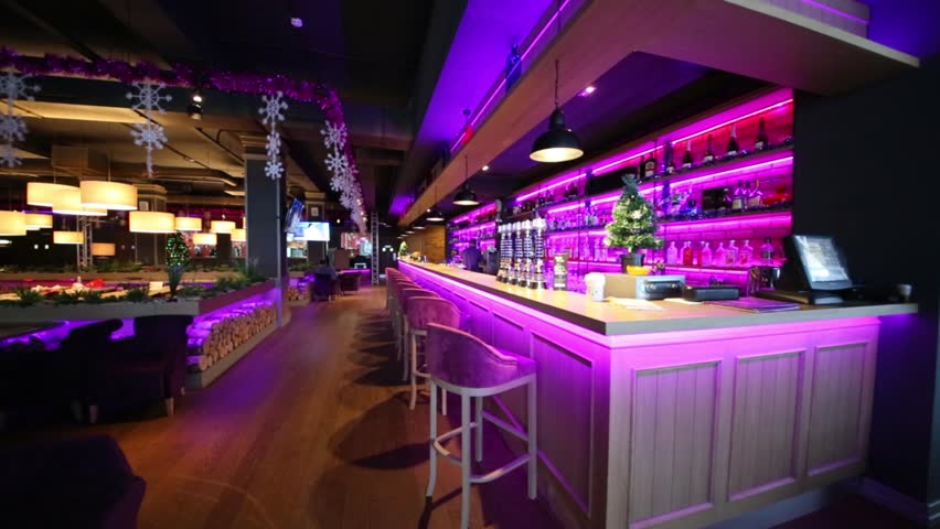 Bar with purple neon illumination and interior of restaurant stock bar with purple neon illumination and interior of restaurant stock footage video 14299105 shutterstock mozeypictures Gallery