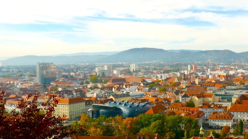 The panorama of the city of Graz in Austria, Europe.