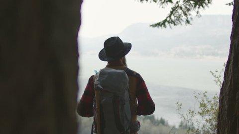 Hiker overlooking valley