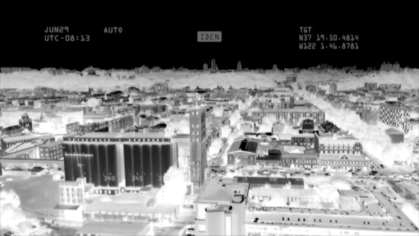 Traffic control surveillance footage. Flir thermal vision air drone shooting