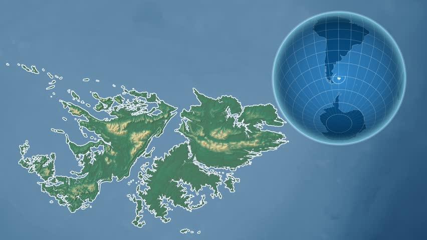 Falkland Islands Shape Animated On The Satellite Map Of The Globe