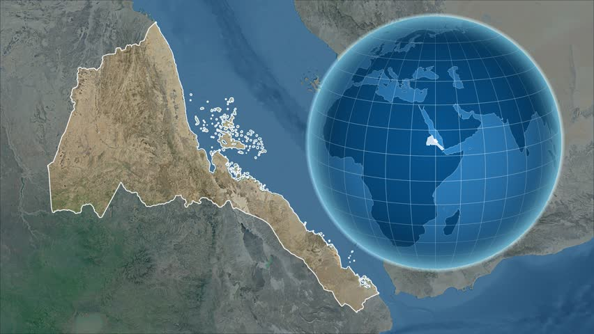 Eritrea Shape Animated On The Physical Map Of The Globe Stock - Map of the globe