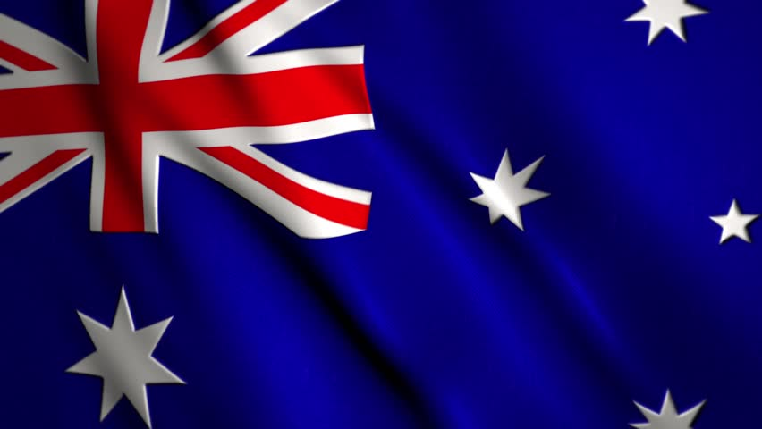 Australian flag waving in the wind with room for text, logos, graphics and titles