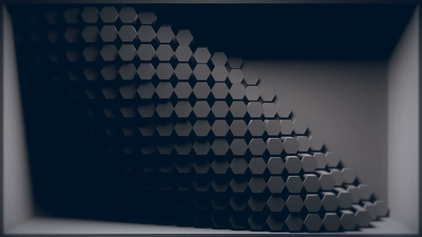 3D Room Where Back Wall Is Penetrated With Animated Hexagon Cylinder  Shapes. Looping Animation.