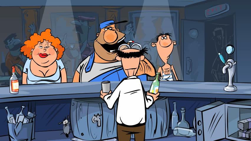 Bartender pours alcoholic beverages drunk visitors. Animated cartoon.