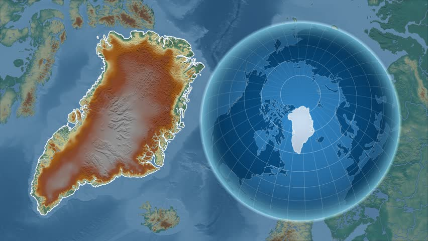 Greenland shape animated on the relief map of the globe | Shutterstock HD Video #14467723