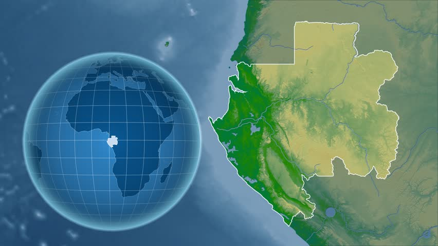 Gabon Shape Animated On The Relief Map Of The Globe Stock Footage