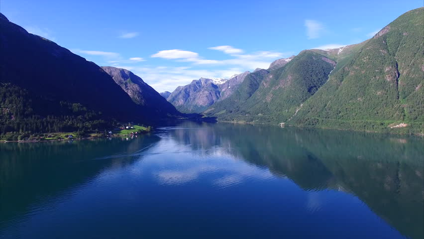Tranquil scenery of calm fjord with mountains reflecting on the water surface, Sognefjorden in Norway. Aerial 4k Ultra HD. | Shutterstock HD Video #14485825