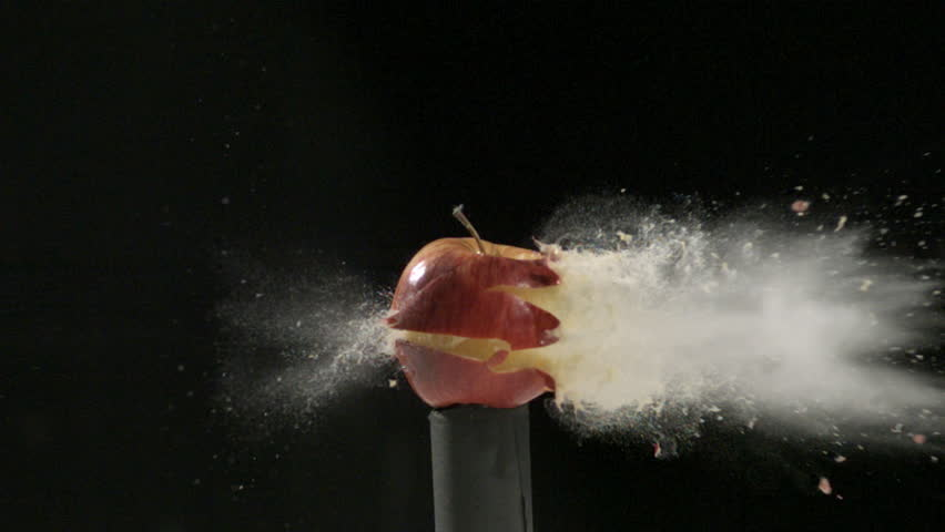 Bullet going through apple at 14,000 frames per second, super slow motion
