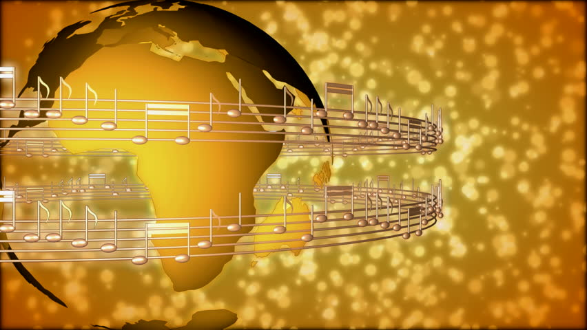 Background Of Musical Notes And Globe