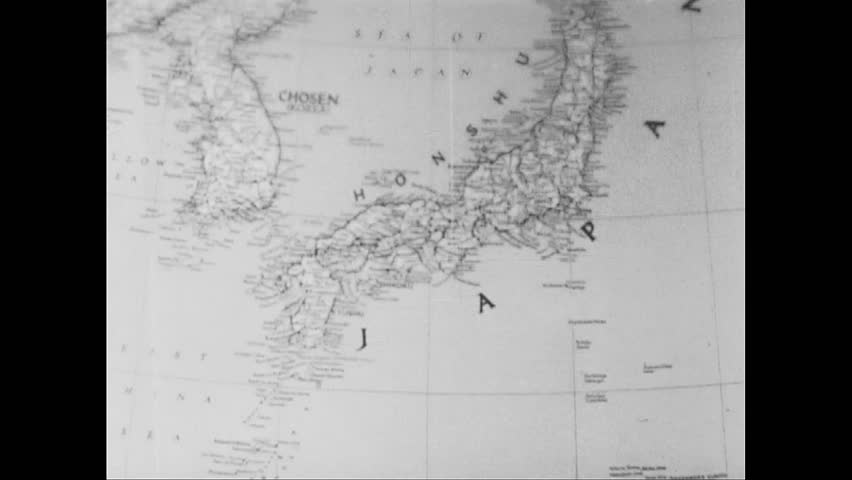 United States 1940s Arrows Appear On Map Of Japan Military Officers At Table