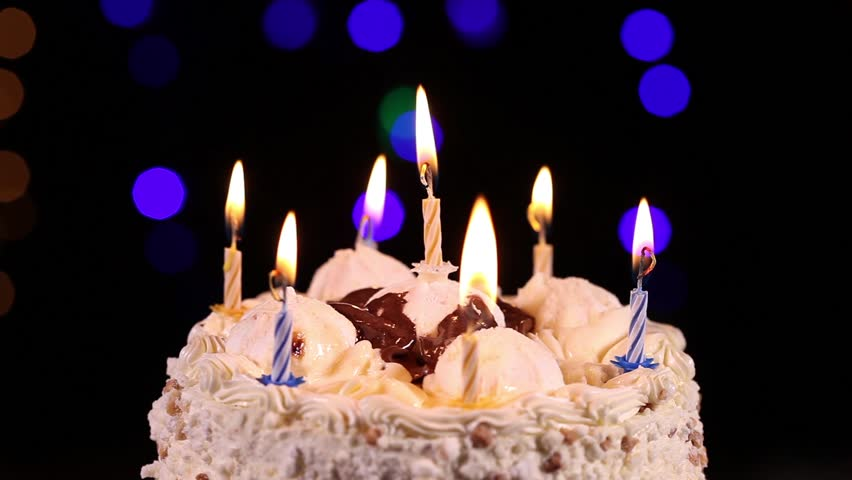 Birthday Cake With Burning Candles Stock Footage Video 100 Royalty