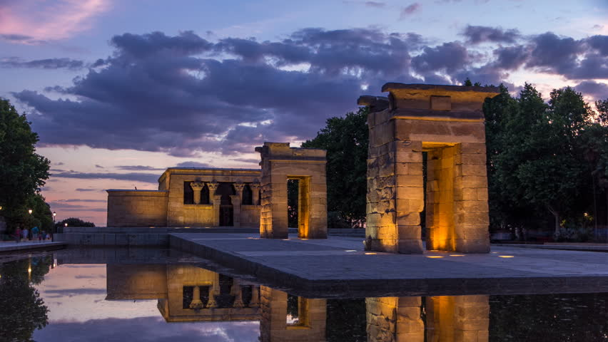 sunset over the templo de debod timelapse the temple of debod is an ancient egyptian temple which was rebuilt in madrid spain