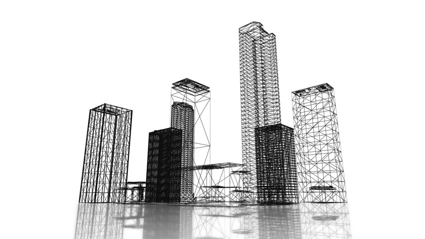 Loopable video 3840x2160 uhd blueprint of the business district loopable video 3840x2160 uhd blueprint of the business district of the city with skyscrapers and apartment buildings on white background stock footage malvernweather Images