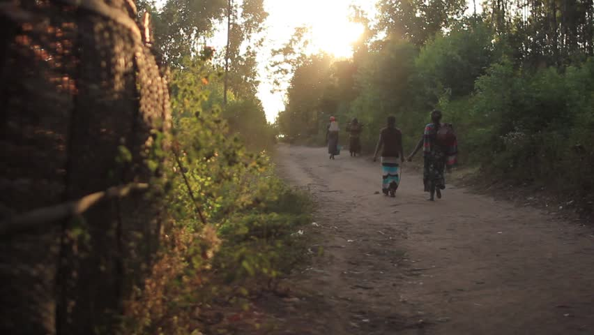 A family group of African villagers travel together with many containers, to find water to bring back to their village. African woman walking to the next well during magic hour sunset | Shutterstock HD Video #14599945
