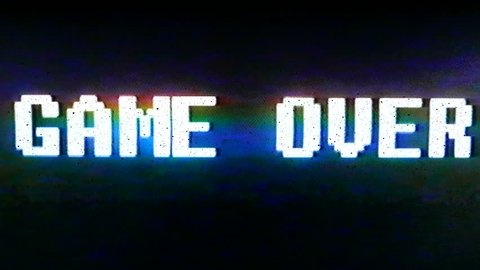 Game Over Classic Arcade. Game Over in text titles. Classic arcade, video noise, static. All original elements manipulated on analog tape, captured with a 4K camera and assembled in Adobe Premiere.