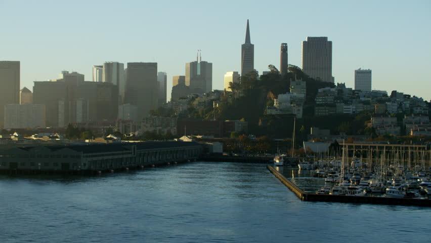 Aerial sunrise San Francisco California USA Waterfront Coit Tower