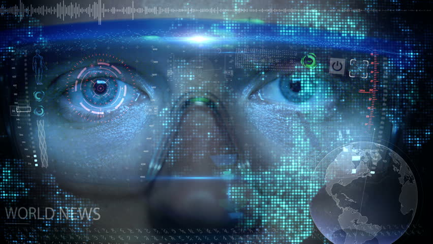 Futuristic Monitor On Face wit...
