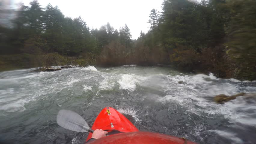 POV of man kayaking over Butte Falls in southern Oregon