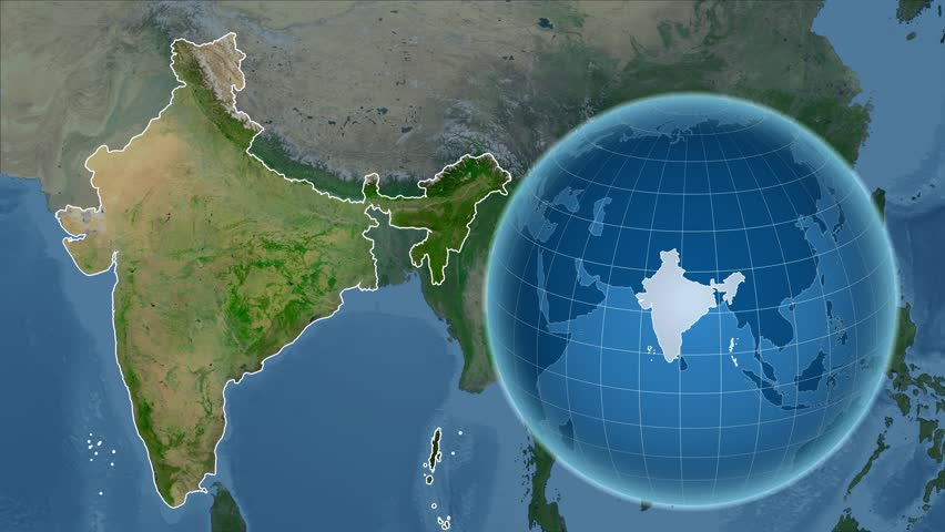 Sattlite Map Of India.India Shape Animated On The Satellite Map Of The Globe
