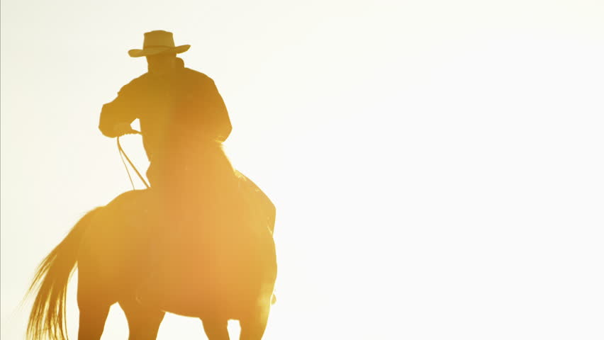 Silhouette of cowboy rider at sunrise in wilderness area USA | Shutterstock HD Video #14685325