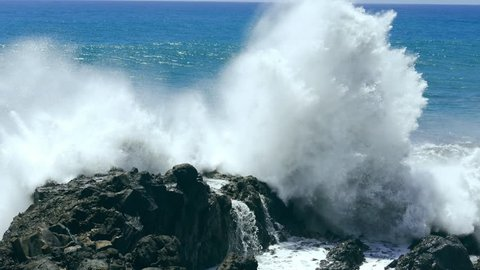 Footage Sea Wave Motion Crashing Rocks Horizon Water Beach Nature Power Travel Hawaii Nature Tourism Eroded Coast Surf