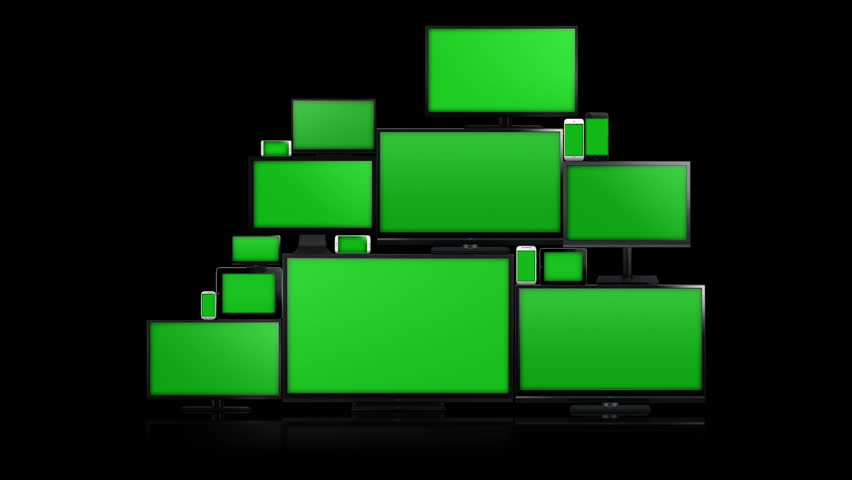 Many different types of screens. TVs, computer monitors, smartphones and tablets. They laid on each other in a pile isolated on a white background. They are all with a green screen. Alpha & zoom in | Shutterstock HD Video #14713015