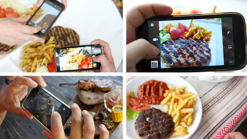 Collage of take a photo picture of food in a restaurant with phone