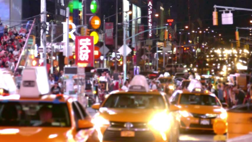 Times Square Traffic New York City Street Crowded Manhattan USA Footage People Busy Connection Transportation Taxi Road Illuminated