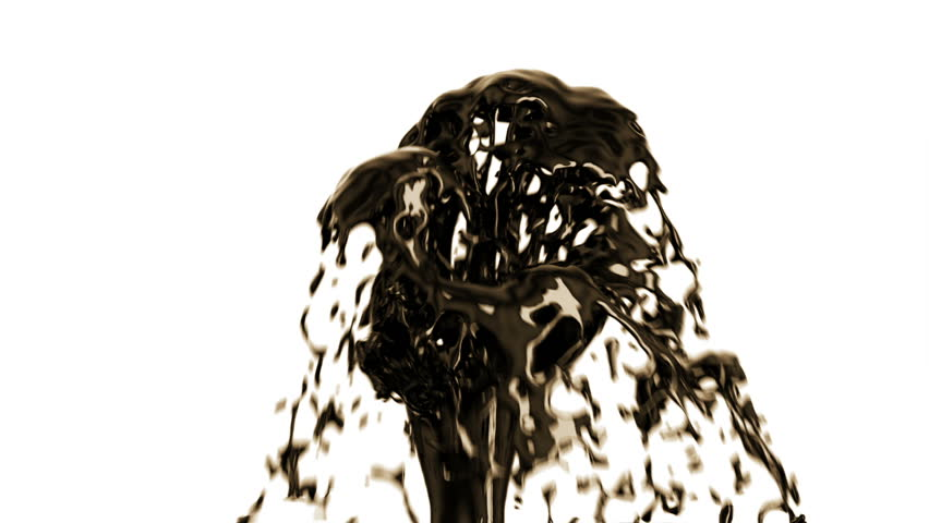 Black Oil Fountain Gushing isolated on White Background with Alpha Matte. Concept 3d animation. HD 1080.