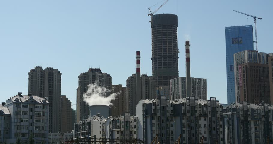4k fumes billow from industry chimney,energy generation pipe with smoke,urban building background. gh2_11063_4k