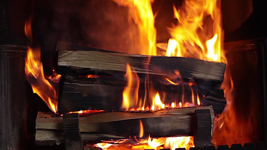 Beautiful Flame Burns In The Fireplace Stock Footage Video ...