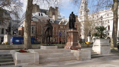 LONDON, UK - 24 JANUARY 2016: 4K Footage of Mahatma Gandhi Statue in Parliament Square.