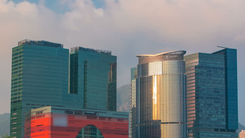China timelapse. Kowloon district. Sunset views of the city from the port of Hong Kong. Sunny day. | Shutterstock HD Video #14846545
