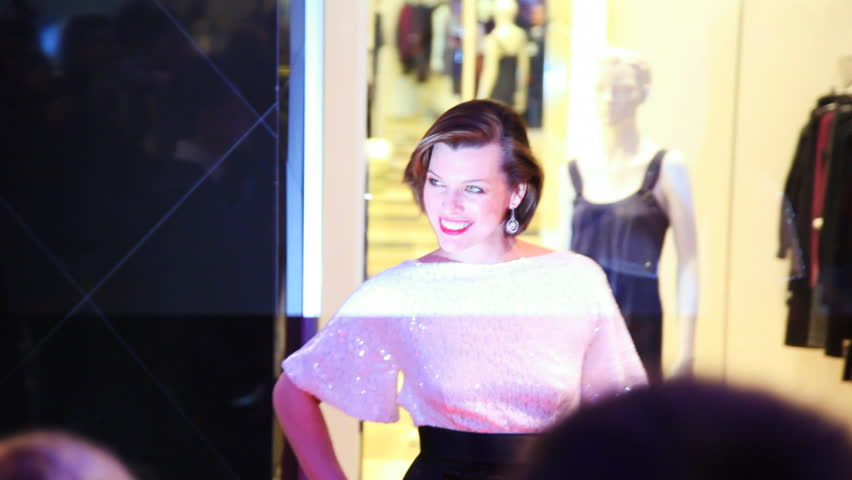 MOSCOW, RUSSIA - FEBRUARY 13: Milla Jovovich poses for photographers and journalists in shopping mall Vegas on February 13, 2011 in Moscow, Russia. Jovovich signed a star with her name on Moscow's Walk of Fame that same night.