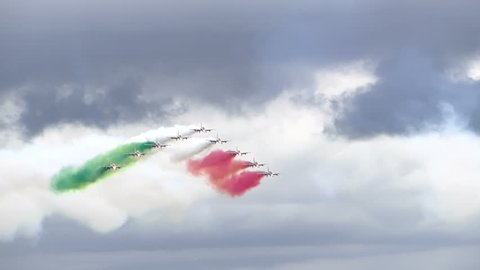 RIVOLTO, ITALY, SEPTEMBER 6: Italian aerobatic team Frecce Tricolori show during 55th anniversary event, on September 6, 2015 in Rivolto, Italy