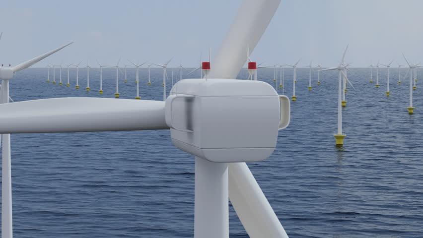Camera rotates around a single wind turbine in an offshore wind farm. Seamless loop. | Shutterstock HD Video #1486447