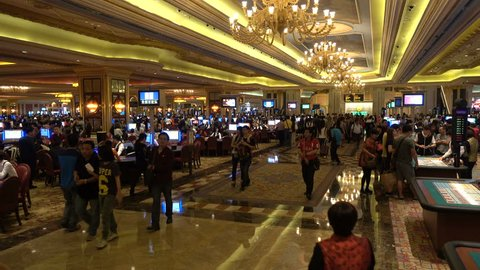 MACAU - 24 OCTOBER 2015: Overview of the gambling hall inside the Venetian Macao, one of the largest and most expensive casinos in the world