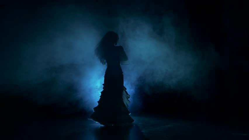 Exotic belly dancer woman starts dance in dark, shadow, smoke, silhouette #14886145