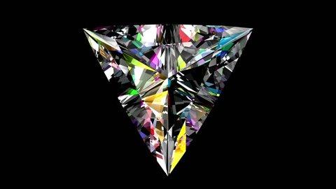 Iridescent Diamond Triangle. Looped. Alpha Matte. 3D Animation