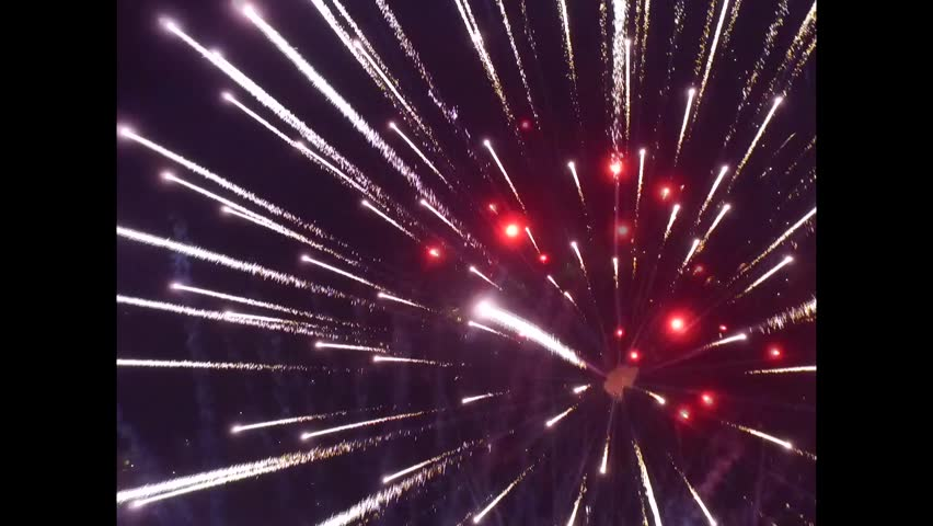 Drone flying above fireworks. drone take firework. drone flying into center firework. | Shutterstock HD Video #14962015