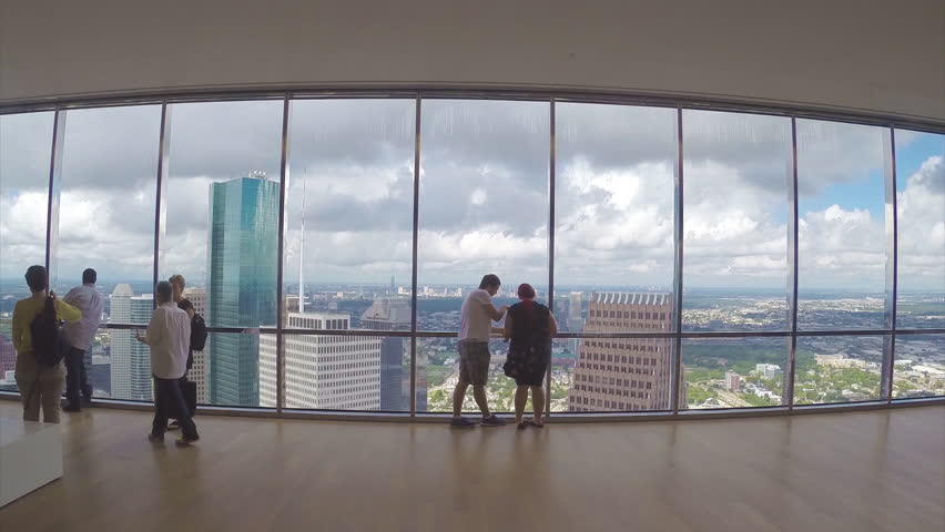 HOUSTON TX - 2015: Houston TX JPMorgan Chase Building People at Observation Deck Looking at View on a Sunny Day in Texas | Shutterstock HD Video #14971303