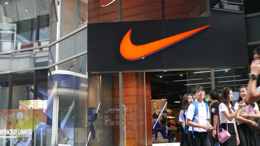 Bangkok Thailand February 19 2016 Exterior View Of A Nike Shop In The Siam Square Area People Walk Around