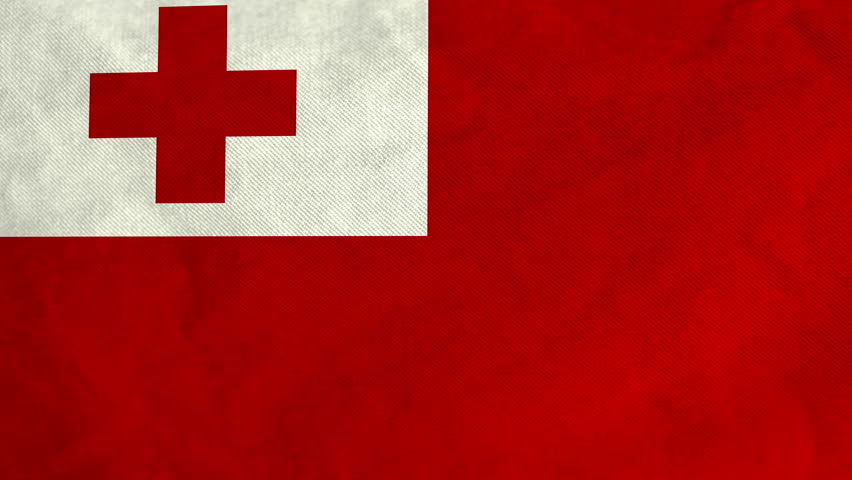 Tongan Flag Waving In The Wind Full Frame Footage 4K UHD Resolution