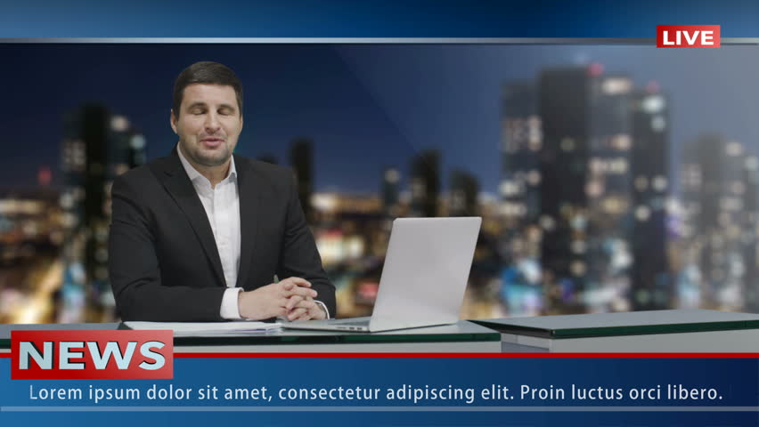 Media broadcaster is sitting at a table and talking. News show Mock-up. | Shutterstock HD Video #15017365